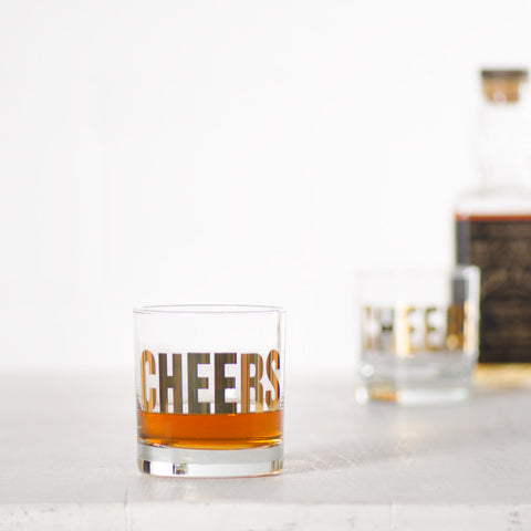 "Gold ""Cheers"" Rocks Glasses"