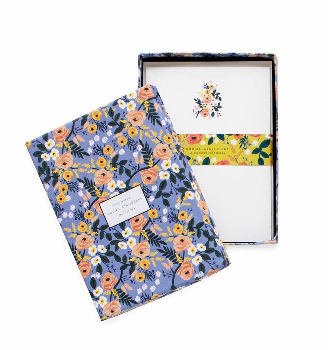 Violet Floral Stationery Set