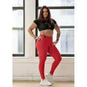 *Red High Waist Brazilian Crunch Leggings