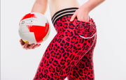 * NEW & LIMITED Brazilian Print- Red Cheetah Mid Waist Leggings