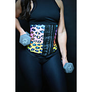 Rainbow Cheetah Long Torso 3 Hooks Waist Trainer