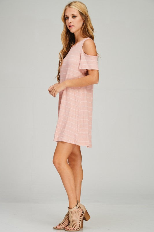 SUMMER DAYS STRIPED DRESS - BLUSH