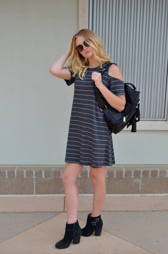 SUMMER DAYS STRIPED DRESS - CHARCOAL