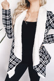 FUR LINED PLAID COAT - BLACK