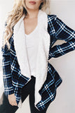 FUR LINED PLAID COAT - BLUE