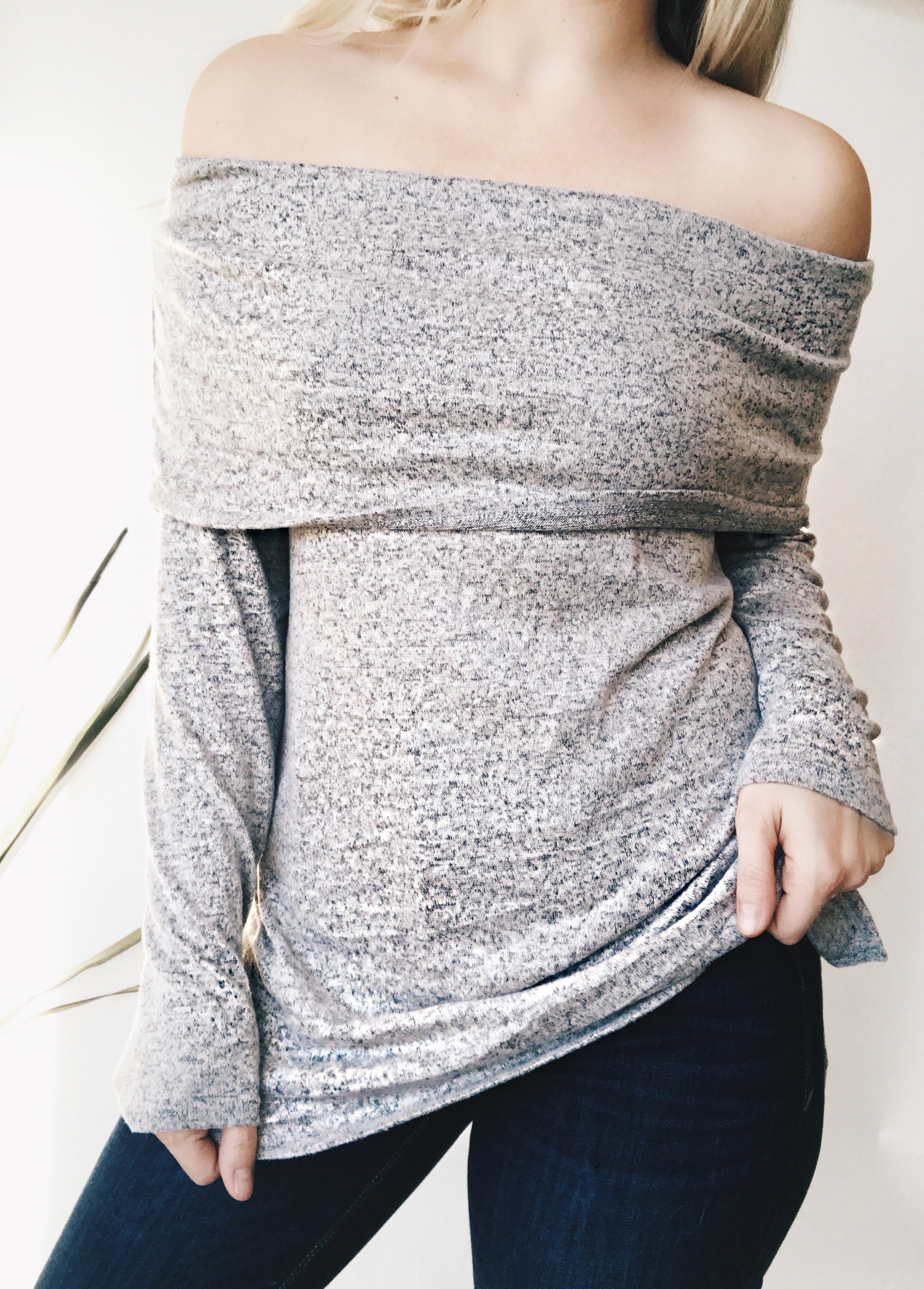 LIVE FOR TODAY OFF THE SHOULDERS SWEATER