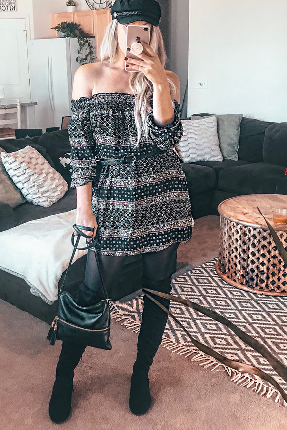 COACHELLA BOHO TUNIC - BLACK