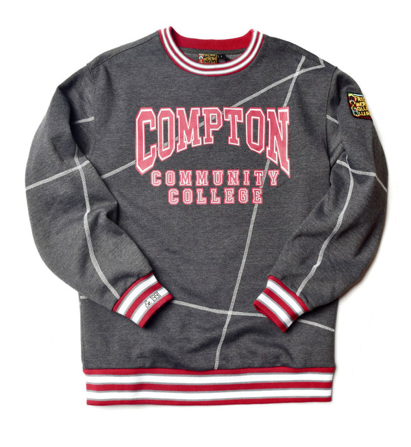 "Compton Community College Original '92 ""Frankenstein"" Crewneck Charcoal Grey/White"