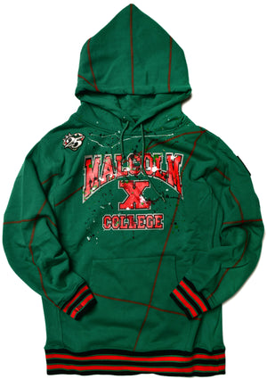 We Are Art Malcolm X College Classic '92 Hoodie Kelly Green/Red (2X ONLY)