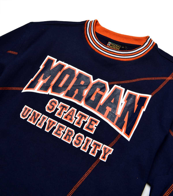 "Morgan State University Original '92 ""Frankenstein"" Crewneck Navy/Orange"
