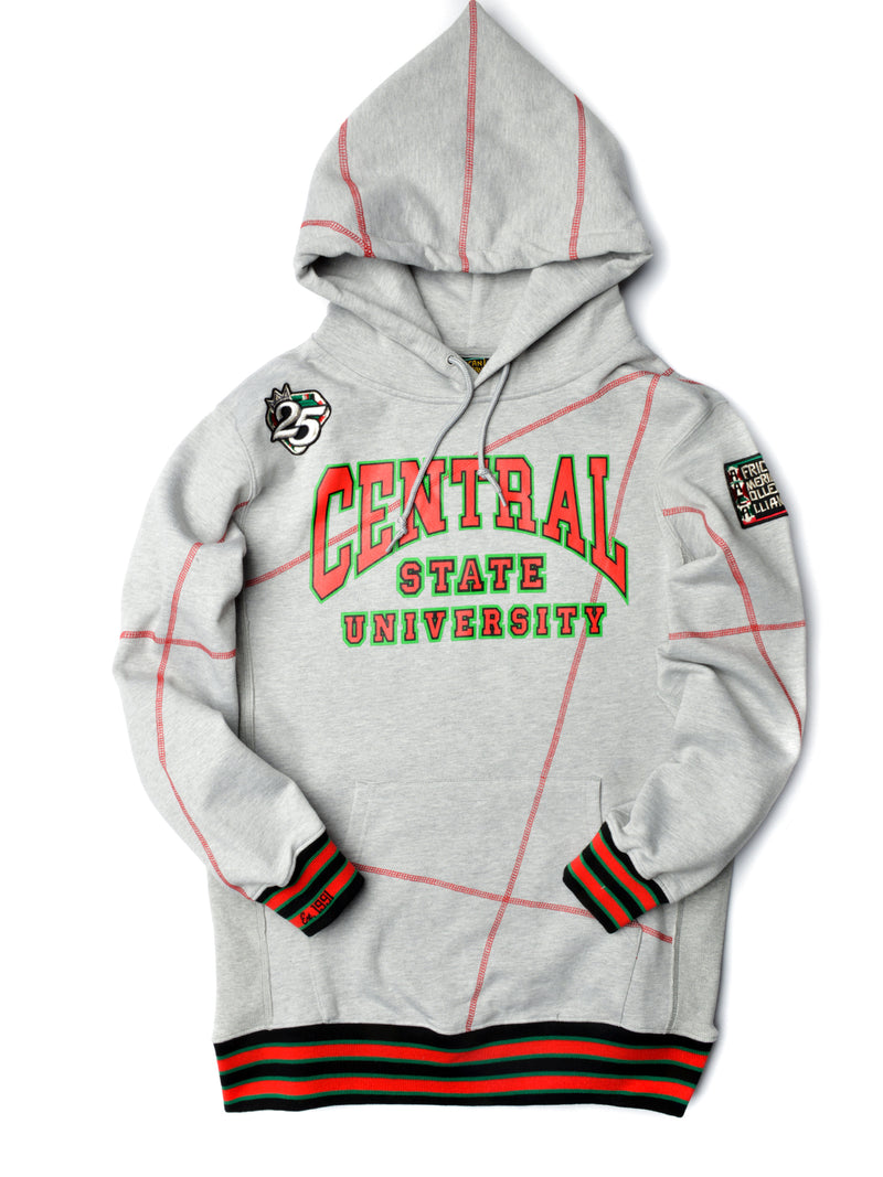 "FTP Central State University Original '92 ""Frankenstein"" Stitched Hoodie MDH. Grey / Red"