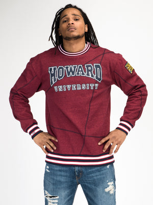 "Howard University Original '92 ""Frankenstein"" Crewneck Red Heather/Navy"
