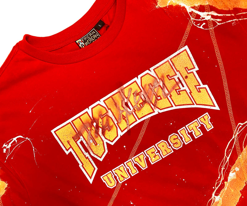Miskeen Originals' Tuskegee All-Over Collabo T-Shirt Red/Old Gold