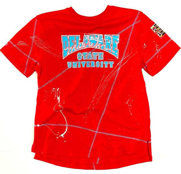 Miskeen Originals' Delaware State All-Over Collabo T-Shirt Red/Carolina Blue