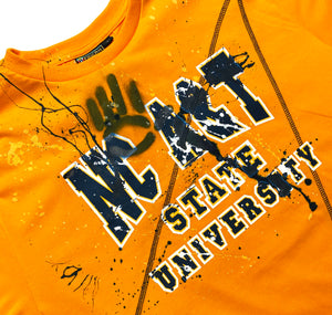 Miskeen Originals' North Carolina A&T University All-Over Collabo T-Shirt Old Gold/Navy
