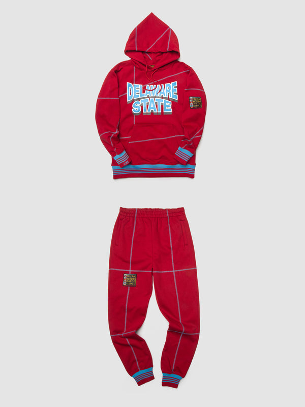 "Delaware State '93 ""Frankenstein"" Sweatsuit - Red/Carolina"