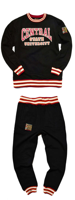 Central State University Classic '91 Crewneck Black/Maroon Sweat Suit