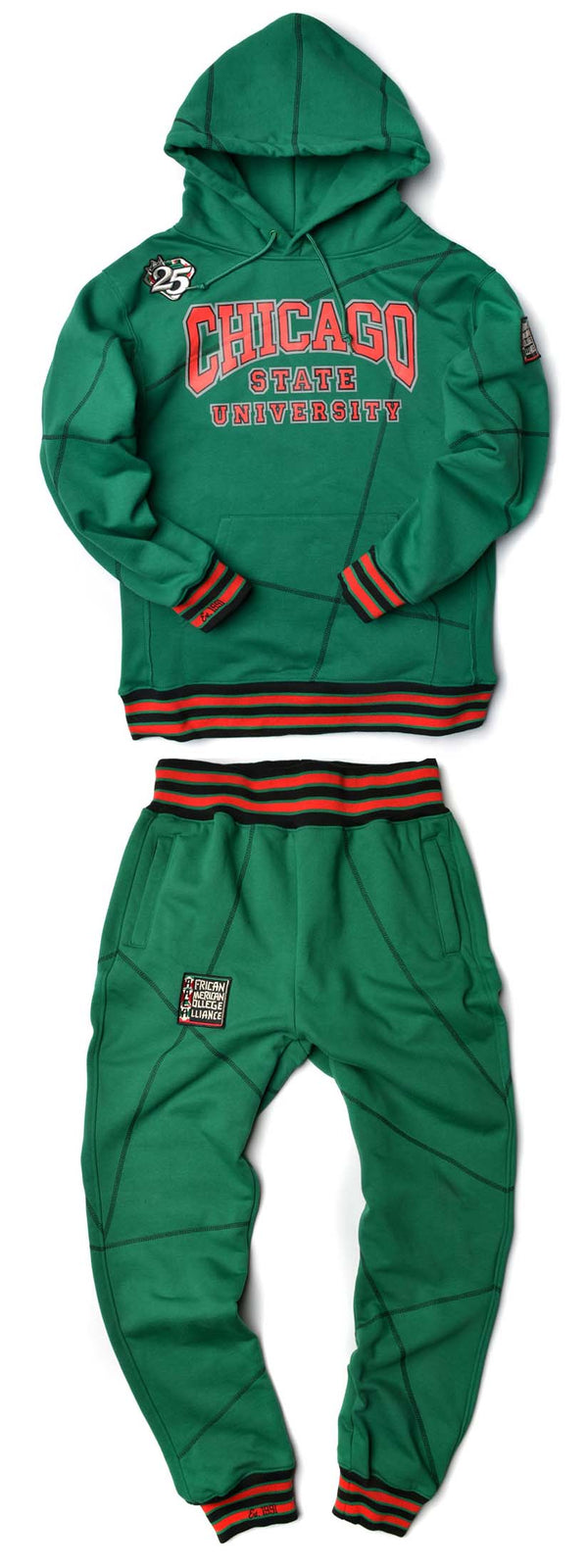 "FTP Chicago State University AACA Original '92 ""Frankenstein"" Stitched Hoodie Sweat Suit Kelly Green/Black"