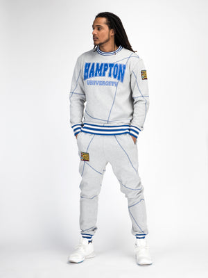 "Hampton University Original '92 ""Frankenstein""  Crewneck Sweatsuit MDH Grey/Blue"
