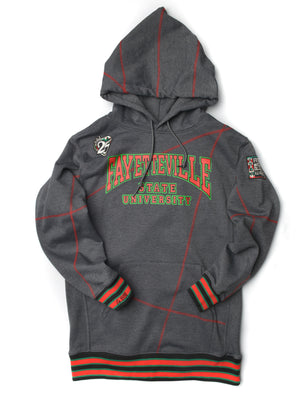 Malcolm X College Frankenstein 92 Stitch Hoodie Charcoal Grey/ Red
