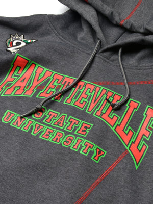 "FTP Fayetteville State University Original '92 ""Frankenstein"" Stitched Hoodie Sweatsuit Charcoal Grey / Red"