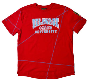 "Delaware State Classic ""Frankenstein"" Crewneck T-Shirt Red/Carolina Blue"