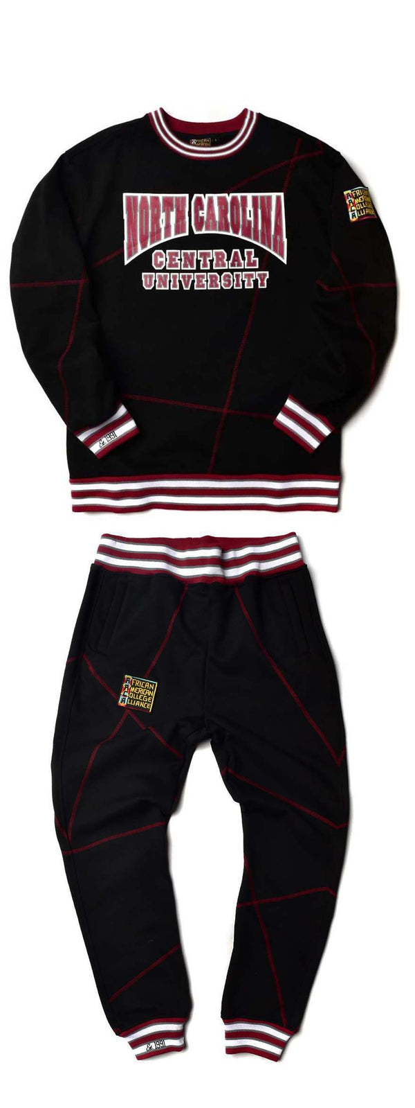 "North Carolina Central University Original '92 ""Frankenstein"" Crewneck Sweat Suit Black/Maroon"