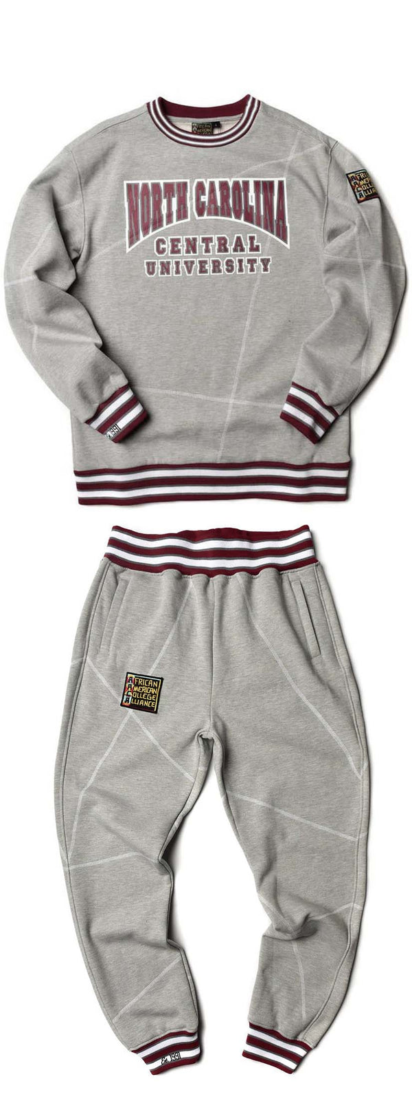 "North Carolina Central University Original '92 ""Frankenstein"" Crewneck Sweat Suit MDH Grey/White"