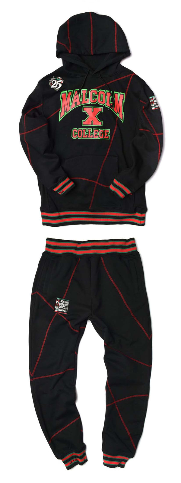 Malcolm X College Frankenstein 92 Stitch Hoodie Sweat Suit Black/ Red