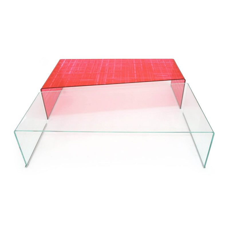 Mesa de Centro Diagonal - Translucent Red Hatch