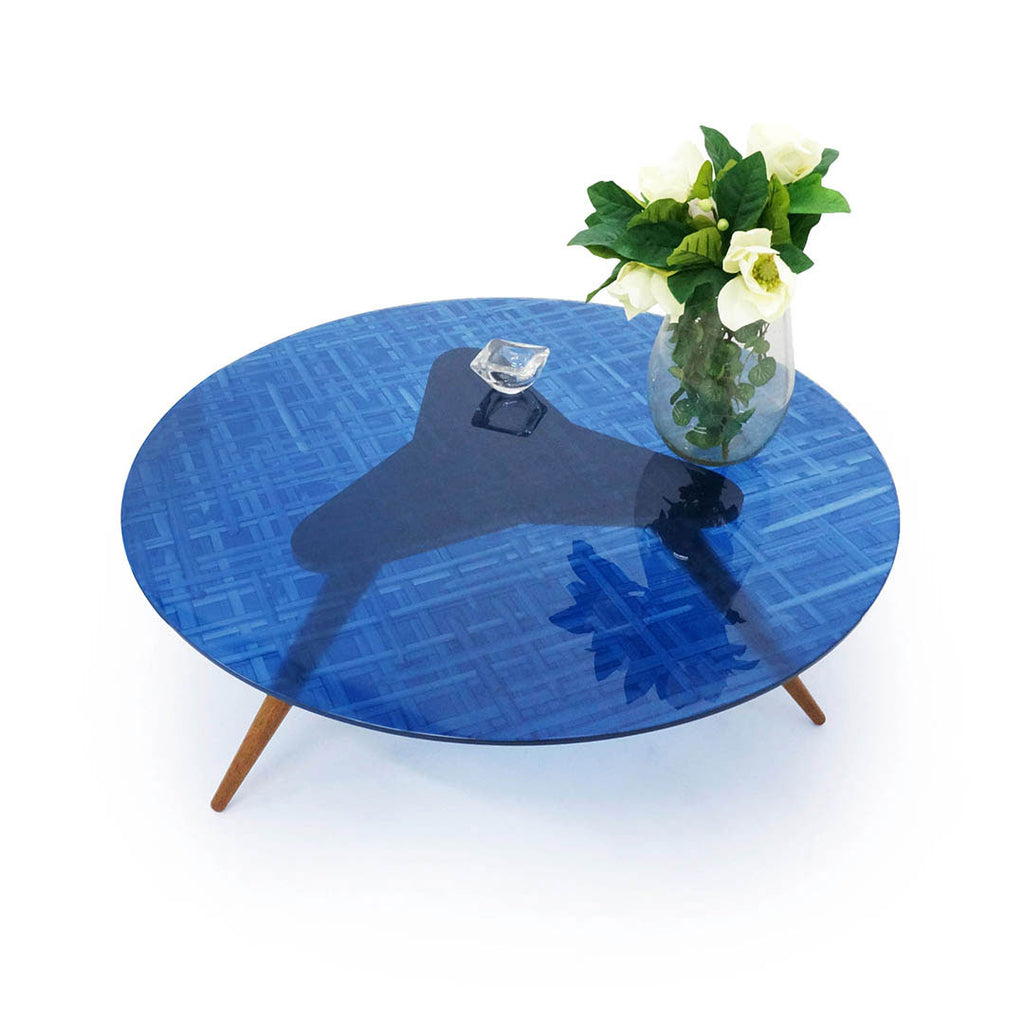 Mesa de Centro Tripod C - Translucent Royal Blue Hatch