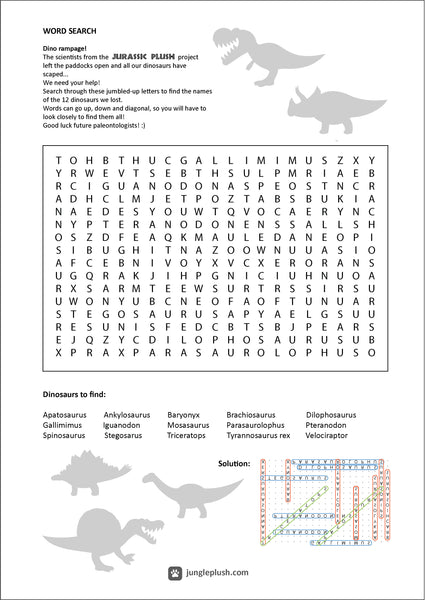 Jurassic Plush Dino Word search (Click on the link to download)