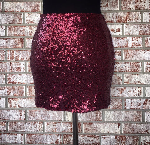 Burgundy Sequin skirt