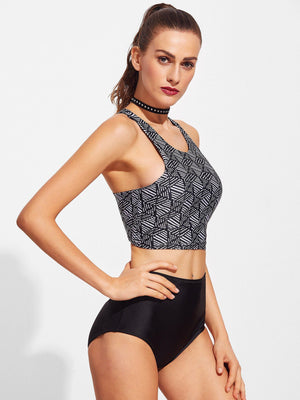 Bikini N' Waves: Bikini Set - Retro High Neck Swimsuit