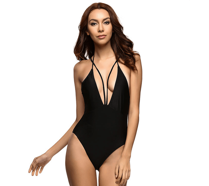 Bikini N' Waves: One Piece Swimsuit - Strapy Deep-V Swimsuit