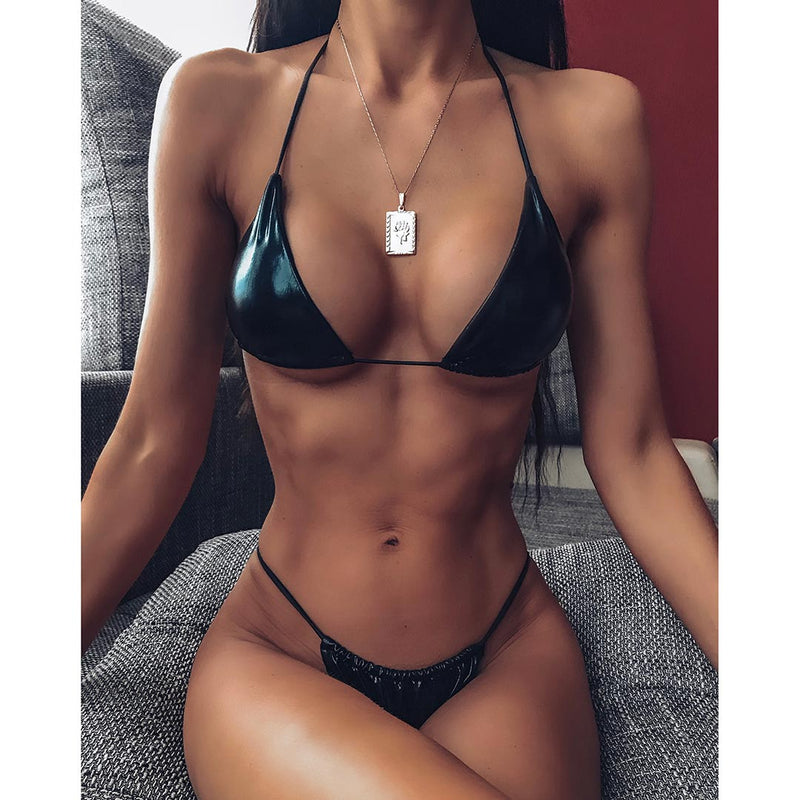 Ibiza Faux Leather Bikini Set