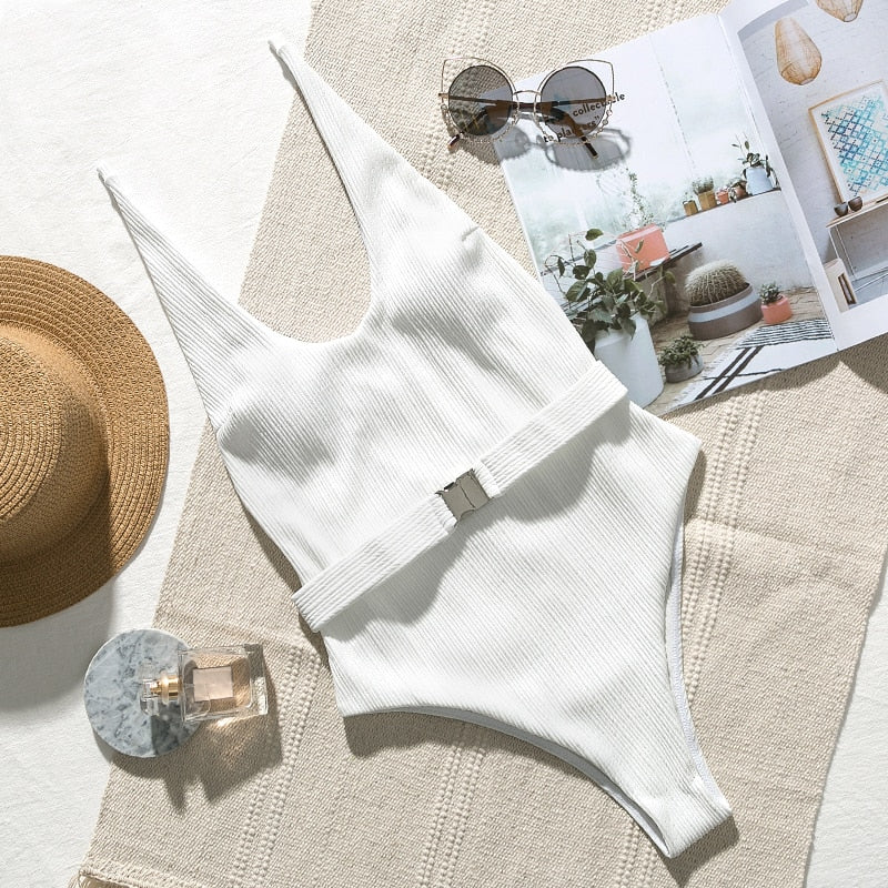 Bikini N' Waves: One Piece Swimsuit - Monaco Ribbed High Cut Monokini