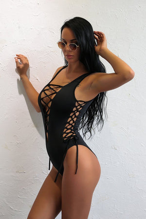 Bikini N' Waves: One Piece Swimsuit - Lace Up Sexy Swimsuit