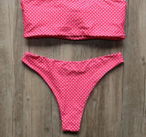 Bikini N' Waves: Two Piece Swimsuit - Molokai Polka Bandeau Bikini Set