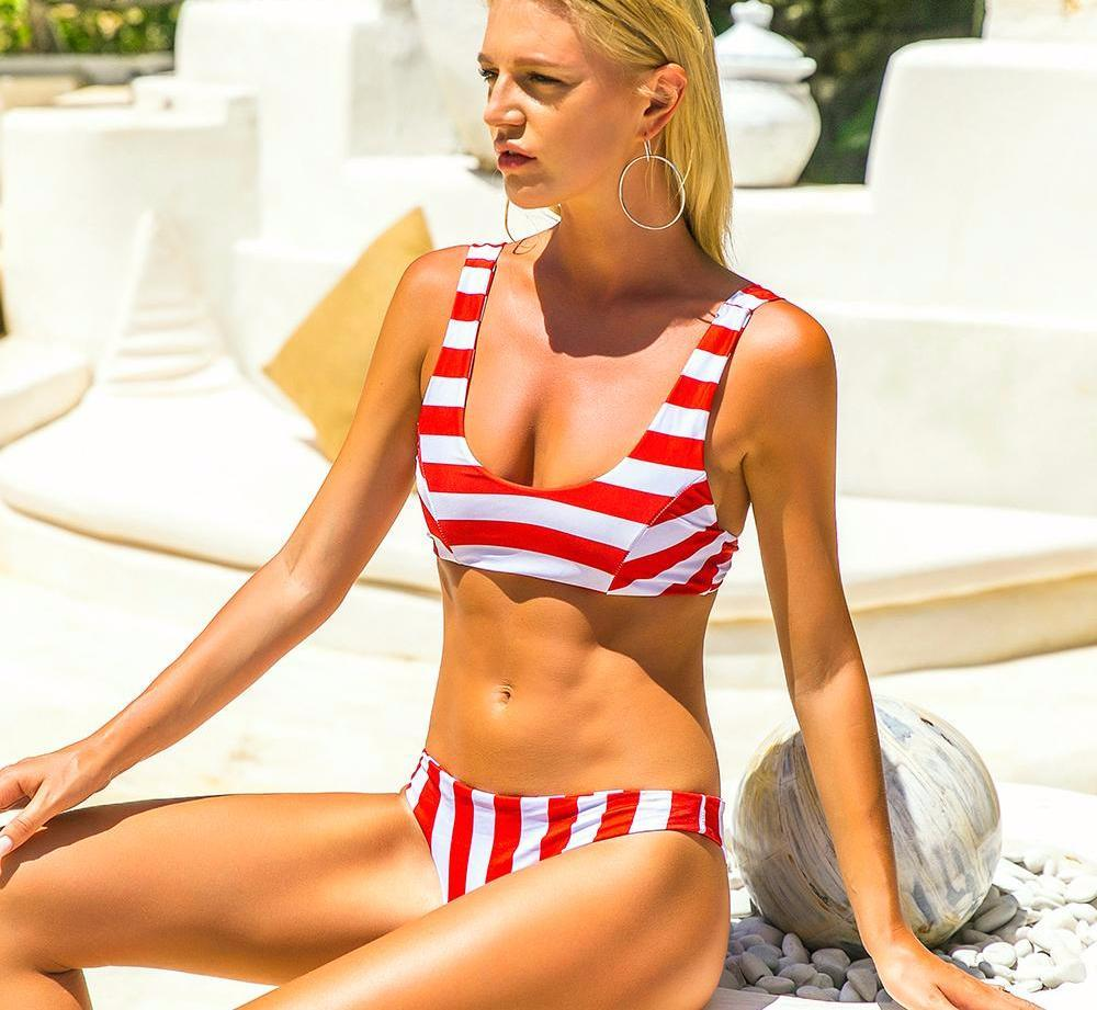 Milan Sports Striped Bikini Set