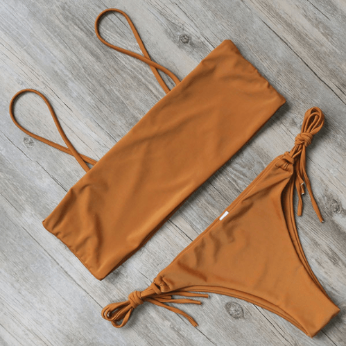 Bikini N' Waves: Two Piece Swimsuit - Zurich Bandeau Solid Bikini Set
