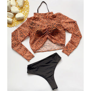 Bikini N' Waves: Three Piece Swimsuit - London Three Piece Leopard Bikini Set