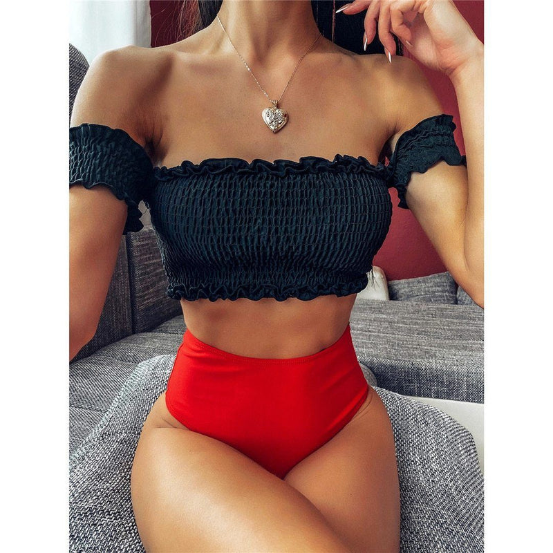 Bikini N' Waves: Two Piece Swimsuit - Florida Pleated High Waist Bikini Set