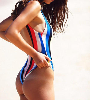 Bikini N' Waves: One Piece Swimsuit - Seychelles Striped Backless Swimsuit