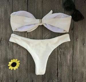 Bikini N' Waves: Two Piece Swimsuit - Cayman Bow Tie Strapless Bikini Set