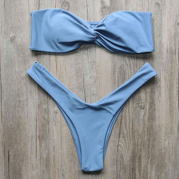 Bikini N' Waves: Two Piece Swimsuit - Jamaica Bandeau Twist Bikini Set