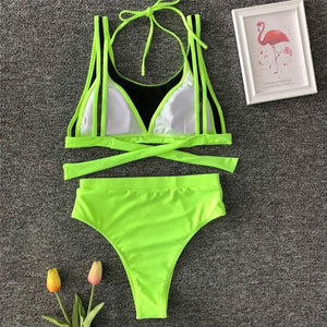Bikini N' Waves: Two Piece Swimsuit - New York Mesh High Waist Bikini Set