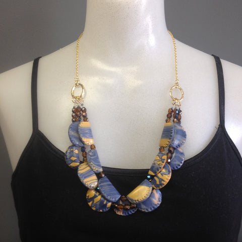 Blue and gold folded bead necklace