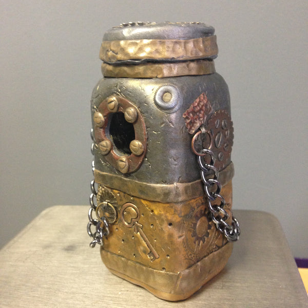 Steampunk square jar
