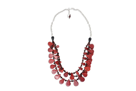 Anastasia Necklace - Bamboo Coral & Onyx